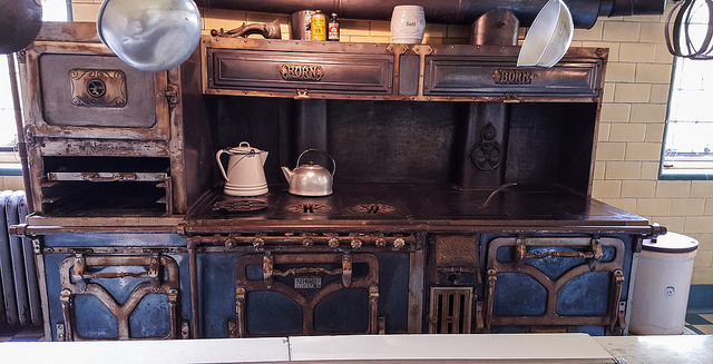 Born stove and over in the first floor kitchen at Stan Hywet, the manor house built by F. A. Sieberling (who founded Goodyear Tire & Rubber) in 1915 in Akron, Ohio