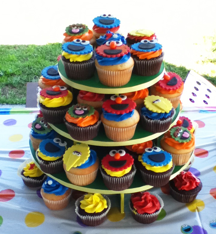 Cupcake stand with decorated Sesame Street cupcakes