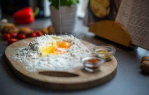 Photo of a cake flour with an egg